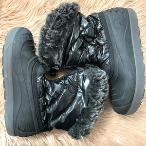 Kamik | Girls Black Fur Snow Boots - Girls Size 3